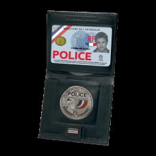 Porte-carte mini forces de l'ordre 2 volets avec emplacements grade et médaille